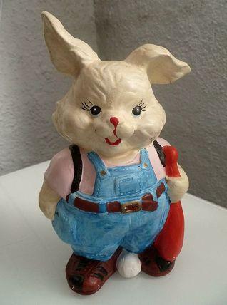 Tirelire  lapin  en ceramique  peint