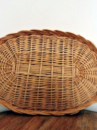 Grand plateau ovale vintage en osier avec anses