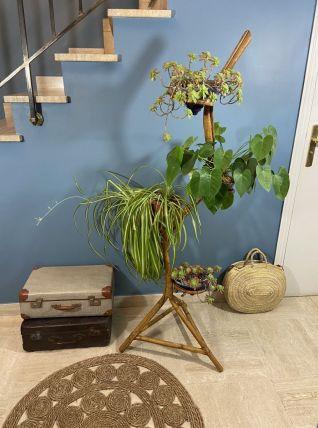 Grand porte plantes vintage en bambou et rotin 1970