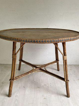 Table de jardin en rotin vintage 60's