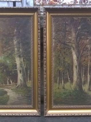 ancienne paire tableaux paysage