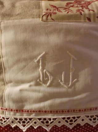 Coussin LIN naturel shabby-chic /tissus ancien brodé main