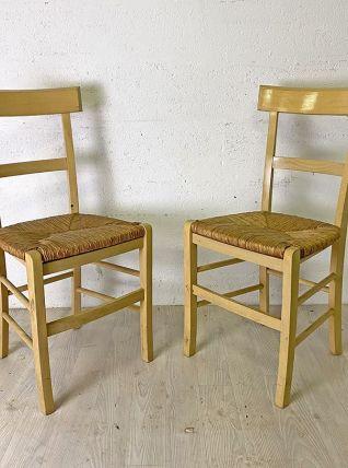 Paire de chaises de ferme paillées
