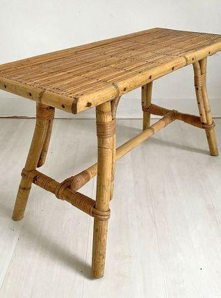 Table basse en rotin vintage 60's