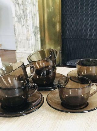 Service café verre ambré années 70 VERECO
