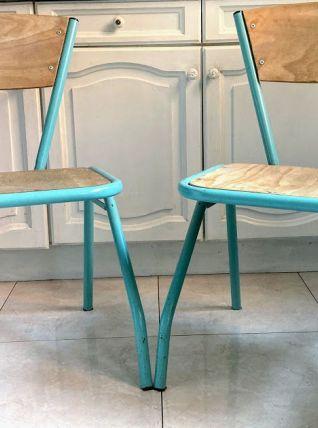 Paire de chaises d'école Vintage avec cadre en métal vert d'