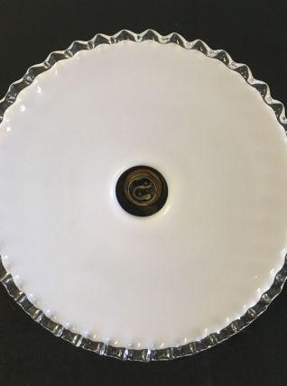 Abat-jour opaline plissé bord transparent – années 50