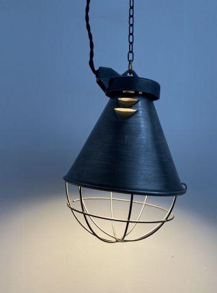 ANCIENNE LAMPE SUSPENSION D'ATELIER INDUSTRIEL