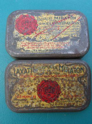 Ancienne boite métal, Pastilles Miraton Laxatif, Étab Chatel