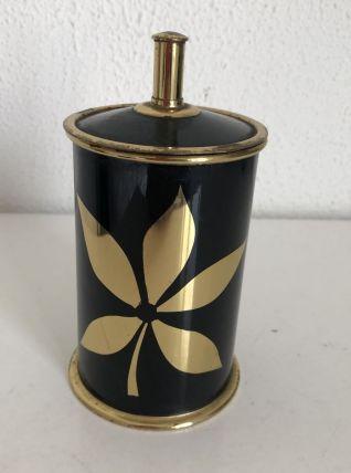 Porte-cigarettes vintage 1960 noir doré boîte - 14 x 7 cm