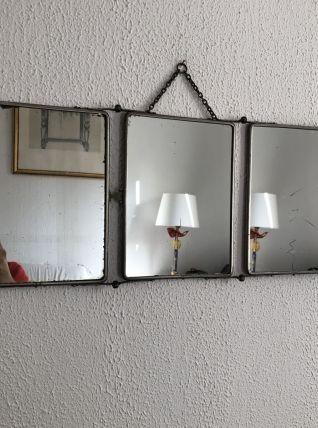 Miroir  vintage 1930 triptyque barbier ébène - 25 x 60