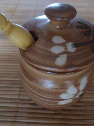 Pot à moutarde en grès avec sa cuillère