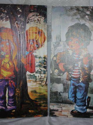 2 tableaux Vintage Enfants Grands Yeux Igor Uhlir Syle Poulb