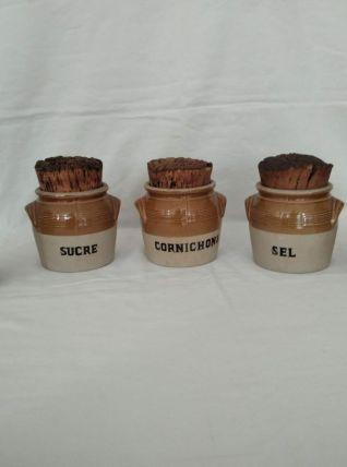 Série de 5 pots en grès émaillé Limoges