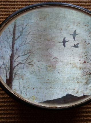 belle boite en porcelaine avec décor de canards superbe