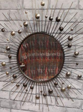 MIROIR SOLEIL EN MÉTAL 1970 60cm  bon etat