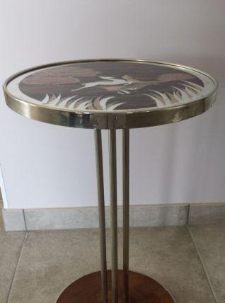GUERIDON ou TABLE D'APPOINT ART DECO 1930 métal chromé