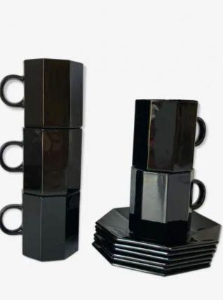 Service à café de 5 tasses & soucoupes noires esso arcoroc