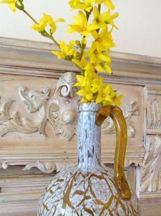 Vase pichet verre ambré moucheté de blanc