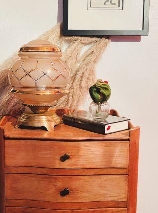 Un joli pied en laiton et un magnifique globe en verre de Cl
