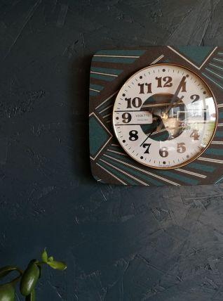"Horloge vintage, pendule murale ""Vedette Transistor Noire &"