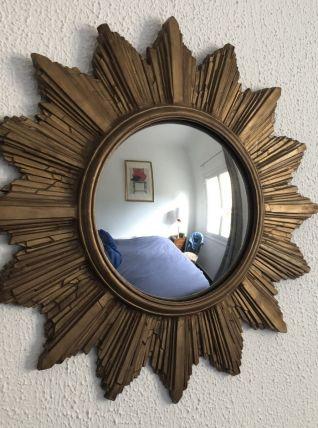 Miroir vintage 1960 soleil oeil de sorcière - 44 cm