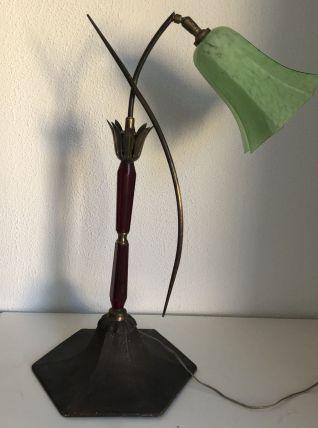 Lampe vintage 1920 Art Déco laiton opaline - 60 cm