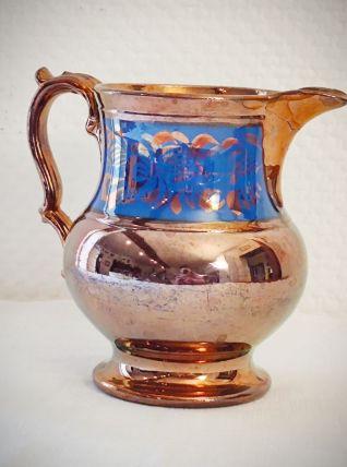 Pichet en céramique jersey cuivré et bleu