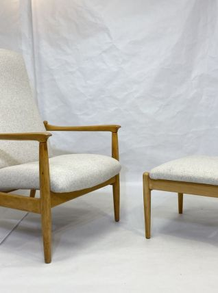 Fauteuil Haut dossier avec ottoman, tissu beige, design  Edm