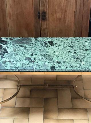 Table basse en marbre Alpi Verde et laiton années 50