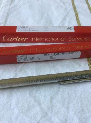 Stylo plaqué argent Must de Cartier