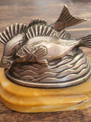 Presse papier bronze argenté  poissons signé C.Charles