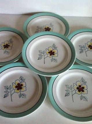 6 assiettes plates vintages ST Amand