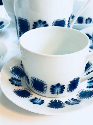 Beau service de 6 tasses, cafetière et pot à lait Vintage