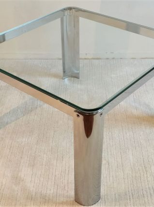 Superbe table basse carrée chromée argentée design 70's ITAL