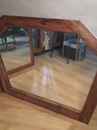 grand miroir asymétrique bois fruitier, chevillié  1970    ,
