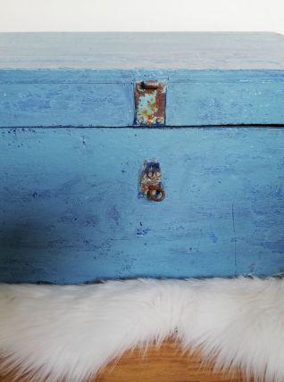 Caisse en bois bleu