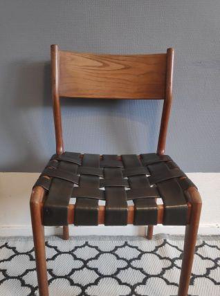 chaise structure bois et assise avec tressage en skaï