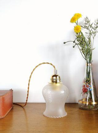 "Lampe Baladeuse vintage, suspension verre ""Jade"""