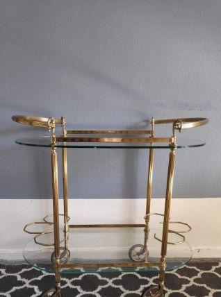 desserte bar 2 plateaux verre et structure en laiton