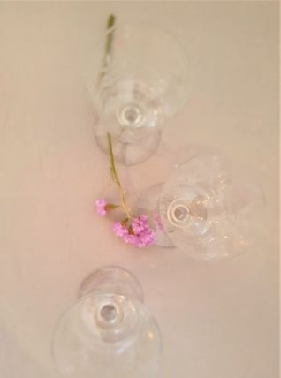 3 verres en cristal taillé (feuillage)