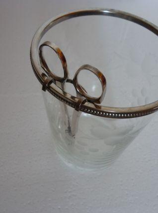 seau à raisins en verre avec ciseaux à raisin métal argenté