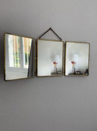 Miroir triptyque vintage 1950 barbier pourpre doré