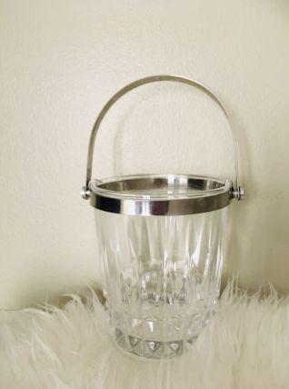 Seau glace ou glaçons Cristal d'Arques années 60