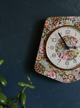 "Horloge vintage, pendule murale ""Kiplé Cerise Fleurs"""