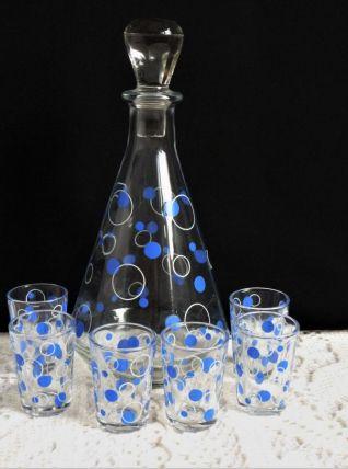 Service à liqueur ancien, carafe et verres à liqueur vintage