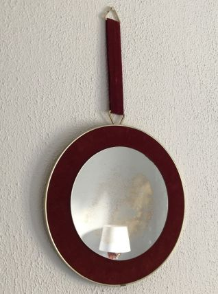 Miroir vintage 1960 soleil ruban carmin  - 34 cm