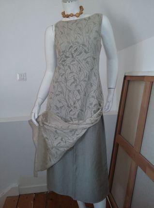 Robe longue vintage motifs  filigrane vert amande T 38