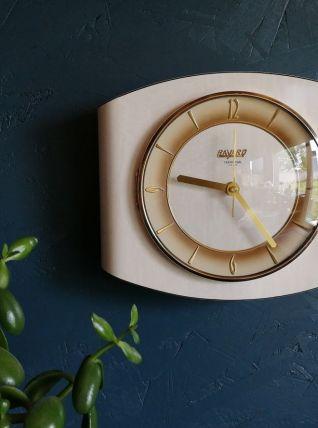 """Horloge vintage pendule murale silencieuse """"Bayard Beige"""""""