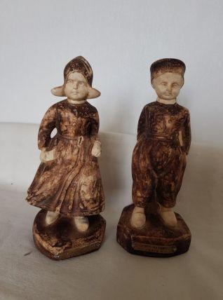 Statuettes enfants en os peint, œuvre de Joseph d'Asté 1931